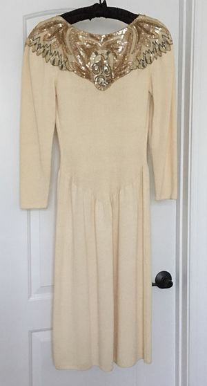 Pat Sandler beaded knit dress, butter, size 12 for Sale in Apex, NC