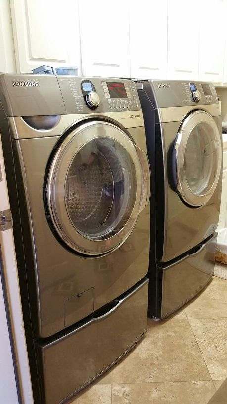 Samsung Washer Dryer Set Grey Front Load Electric Steam With