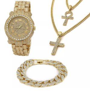Photo 14k Gold Plated Ankh & Cross Bundle Fully Cz Watch & Bracelet Set