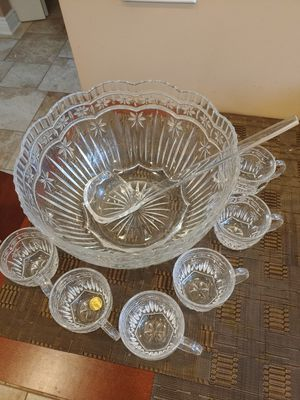 Photo French crystal punch bowl set 8pcs