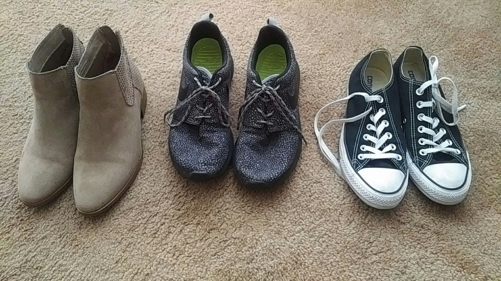 Shoes - beige ones is size 7, grey Nike Roshes is size 8, Converse is size 8, all in good condition and no tears