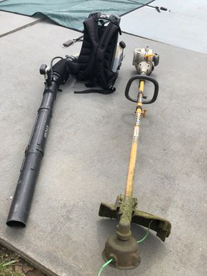 Photo Ryobi backpack blower and weedeater