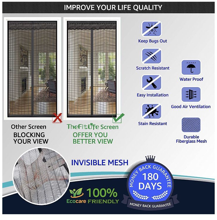 """Magnetic Screen Door - Heavy Duty Mesh Curtain with Full Frame Hook and Loop Powerful Magnets That Snap Shut Automatically - Black 38""""x83"""" Fits Door"""
