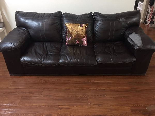 Dark brown leather Sofa perfect condition little tears for Sale in San  Antonio, TX - OfferUp