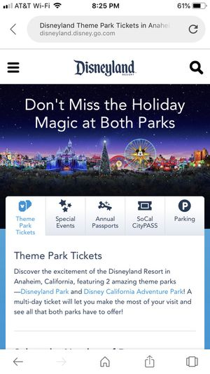 2 Tickets - Disneyland California with Express Pass ( No Lining Up Needed) for Sale in Eagle Mountain, UT