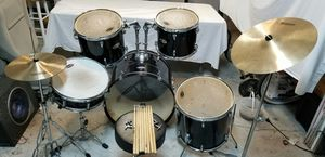 Drum Set Full Size Adult 5-piece Complete with Cymbals Stands Stool and Drum Sticks for Sale in Orlando, FL