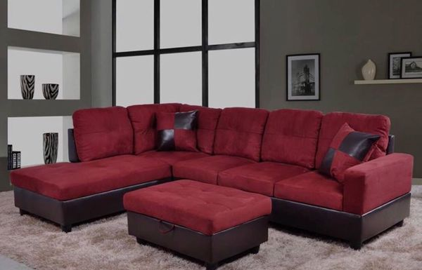 New Red Microfiber Sectional Sofa With Storage Ottoman For Sale In