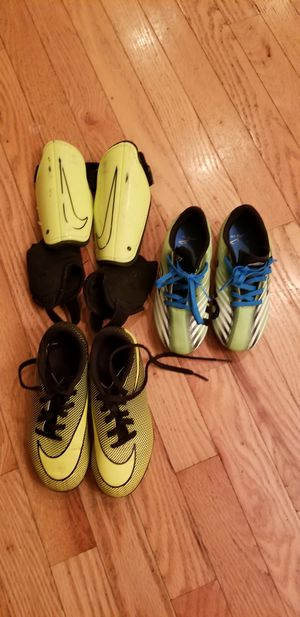 Gently Used soccer cleats and shin guards for Sale in Harpers Ferry, WV