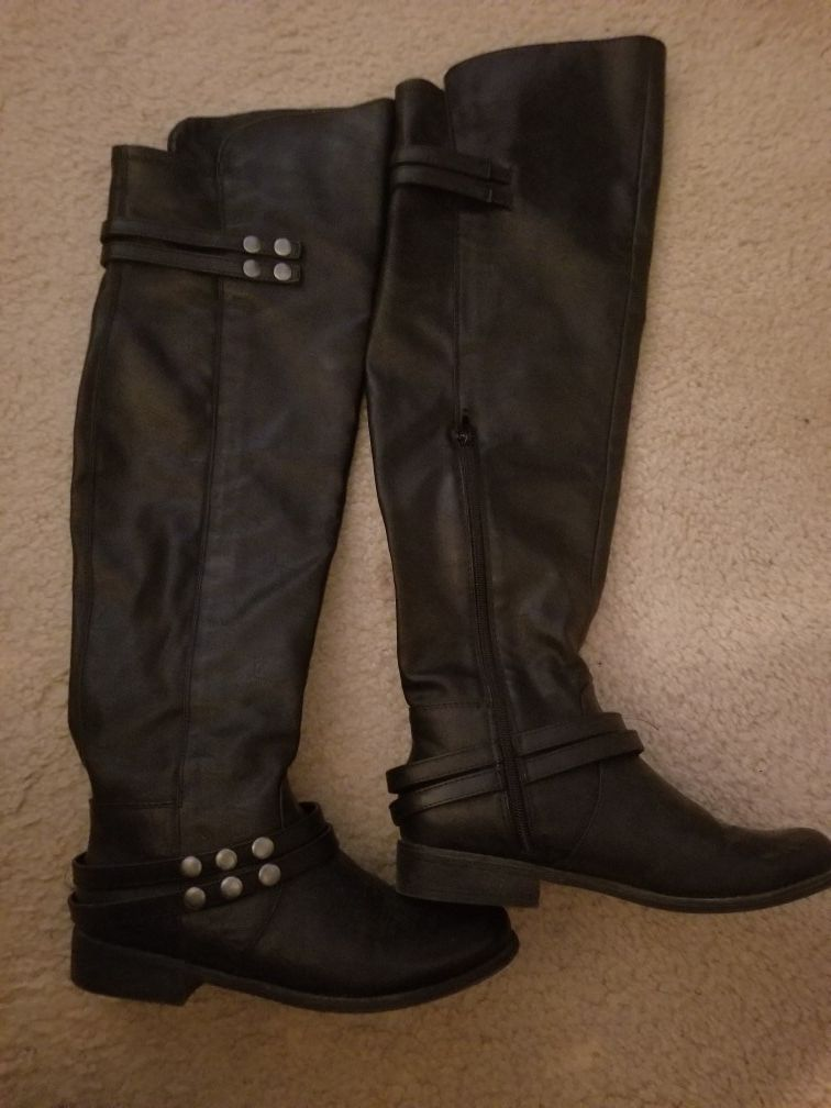 Leather Thigh High Boots Size 7
