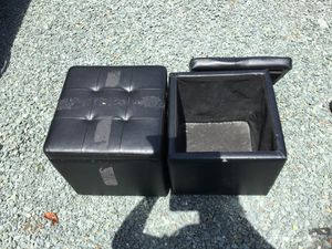 Black Faux Leather Storage Ottomans for Sale in Troy, VA