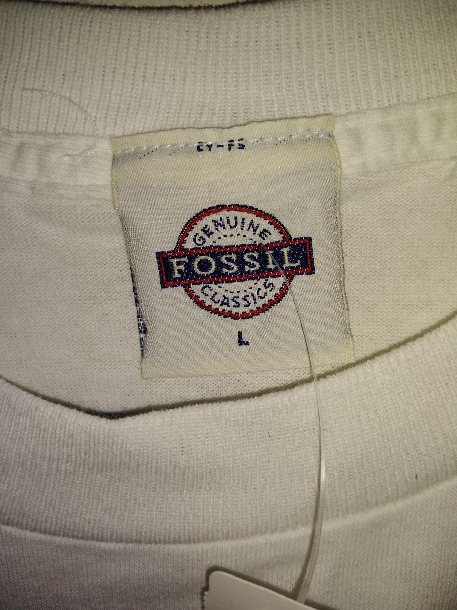 Women's L Vtg fossil graphic white t-shirt