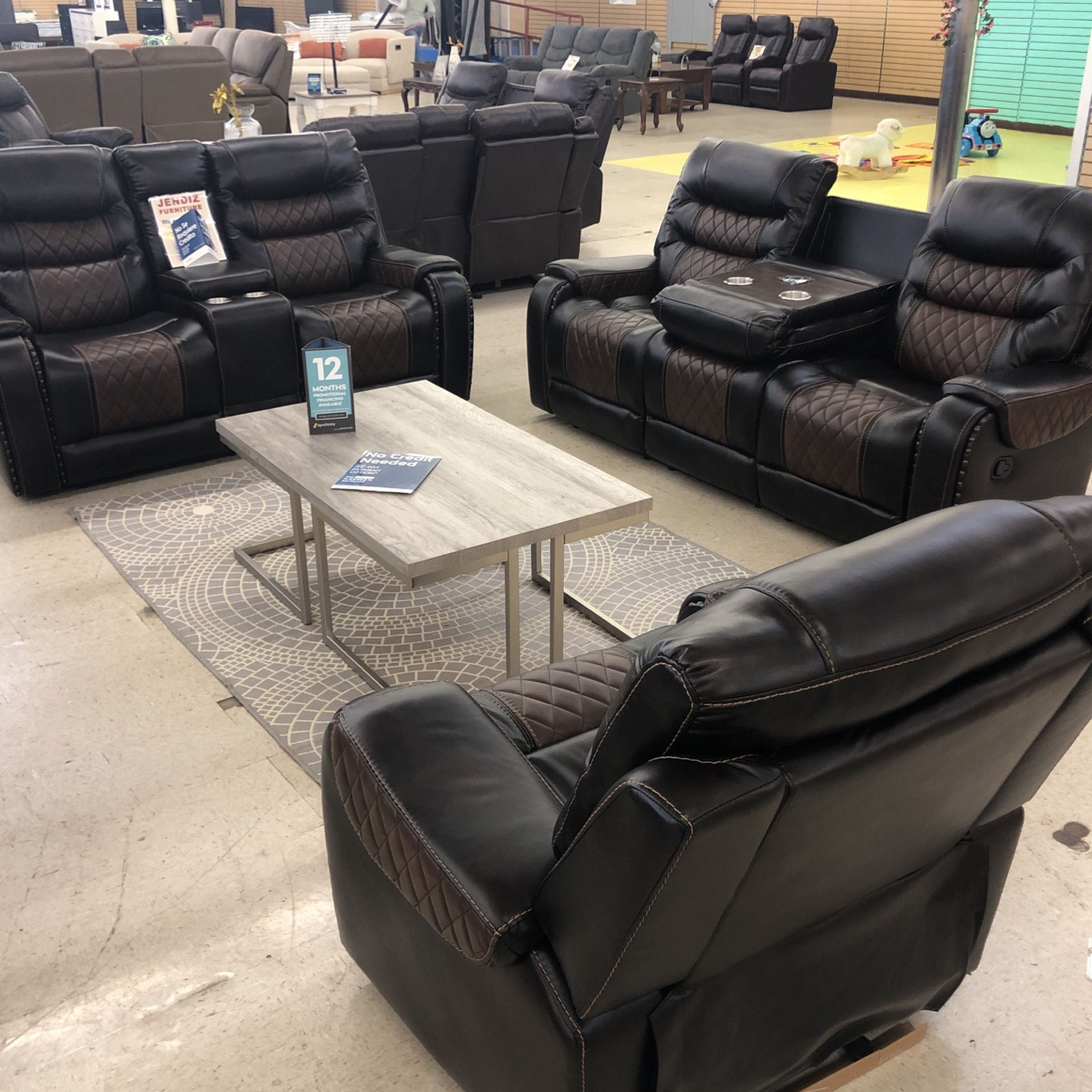 BRAND NEW SOFA LOVESEAT AND CHAIR BROWN LEATHER WITH WIRELESS CHARGER DROP DOWN TABLE ONLY $39 Take It Home 🏡 Today