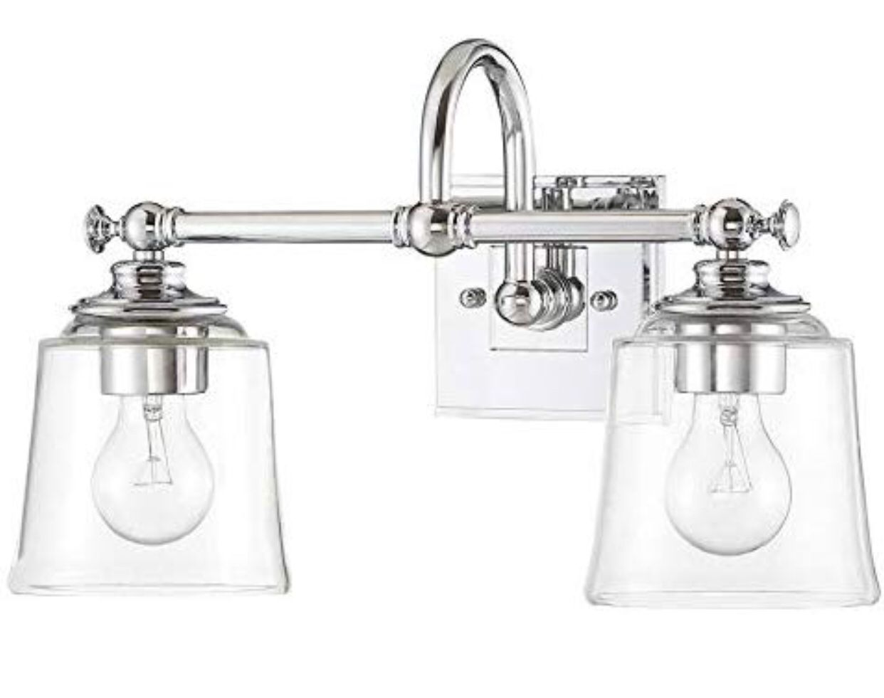 """Park Harbor PHVL3012PC Antonia 2 Light 17-3/8"""" Wide Bathroom Vanity Light with Clear Glass Shades, Polished Chrome"""