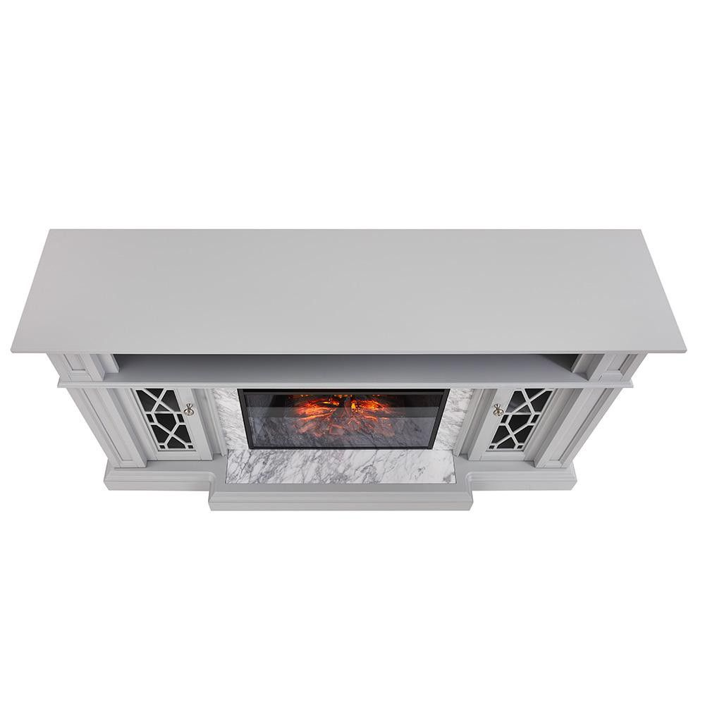 Parkbridge 68 In Freestanding Infrared Electric Fireplace Tv Stand In Gray With Carrara Marble Surround For Sale In Dallas Tx Offerup