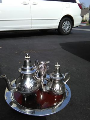 Antique silver plated set of teapot made in morocco for Sale in Anaheim, CA