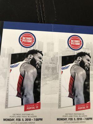 Detroit Pistons vs Portland Trail Blazers - Monday 2/5 for Sale in Windsor, ON