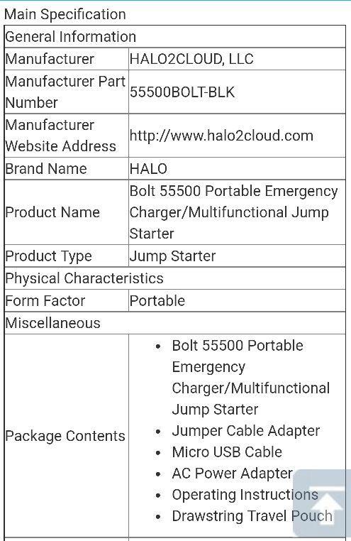 Halo 55500 Bolt Compact Battery Chgrjump Starter Kit For Sale In