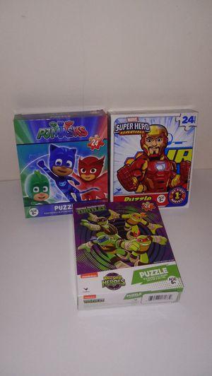 Marvel Adventures, PJ Masks, Ninja Turtles 24pcs Puzzles for Sale in New York, NY