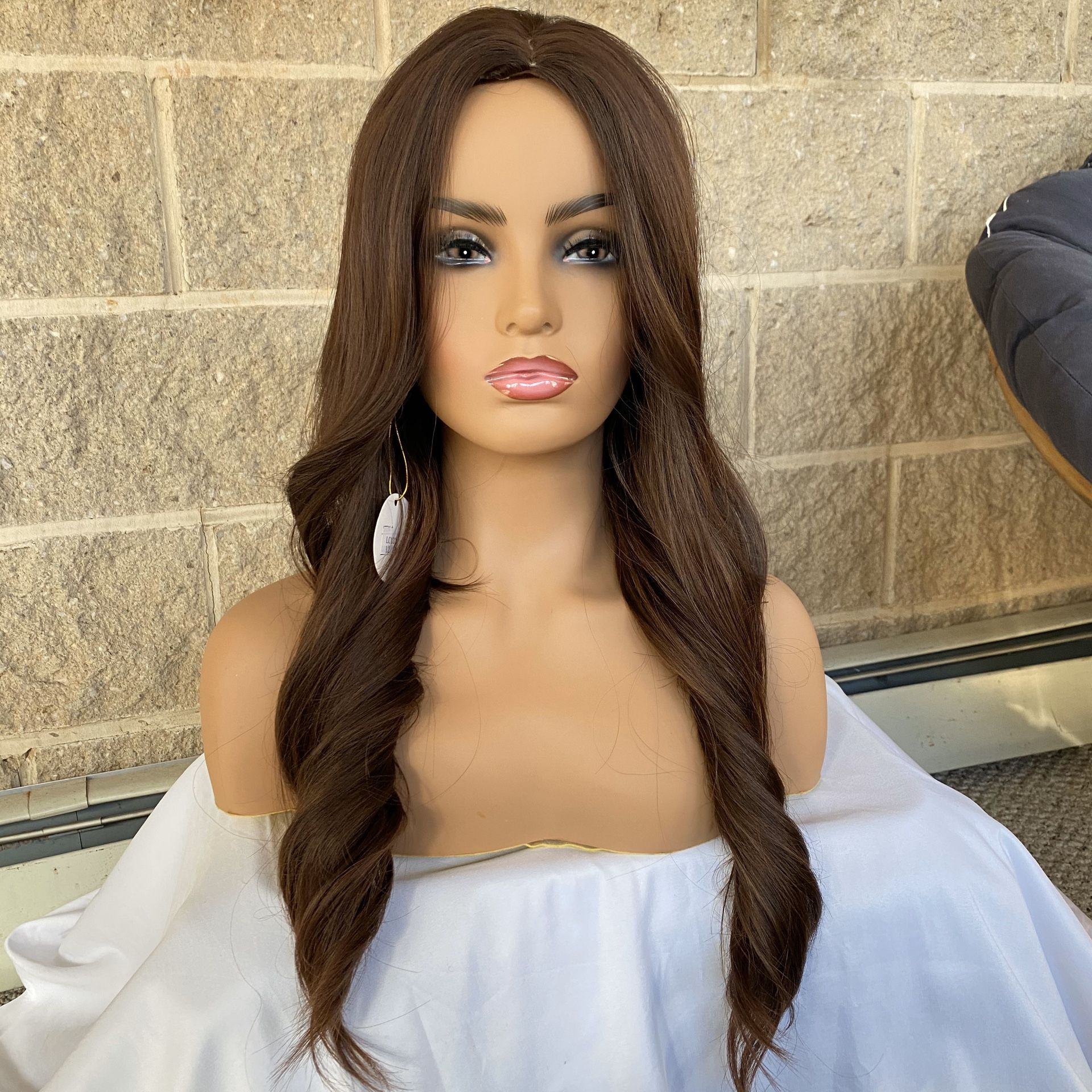 Brown Highlight Wavy Glueless Synthetic Wig