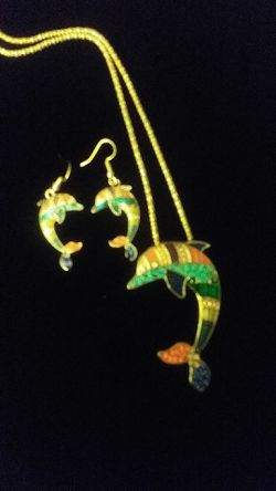 Necklace earings set dolphins, 24$ Thumbnail
