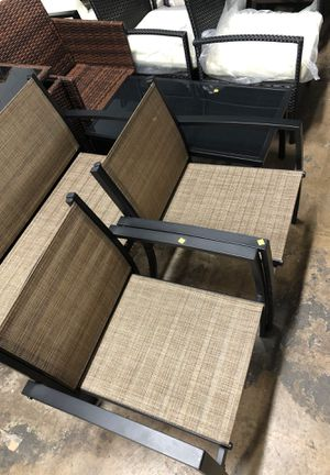 Photo Long seat, two chairs and table set