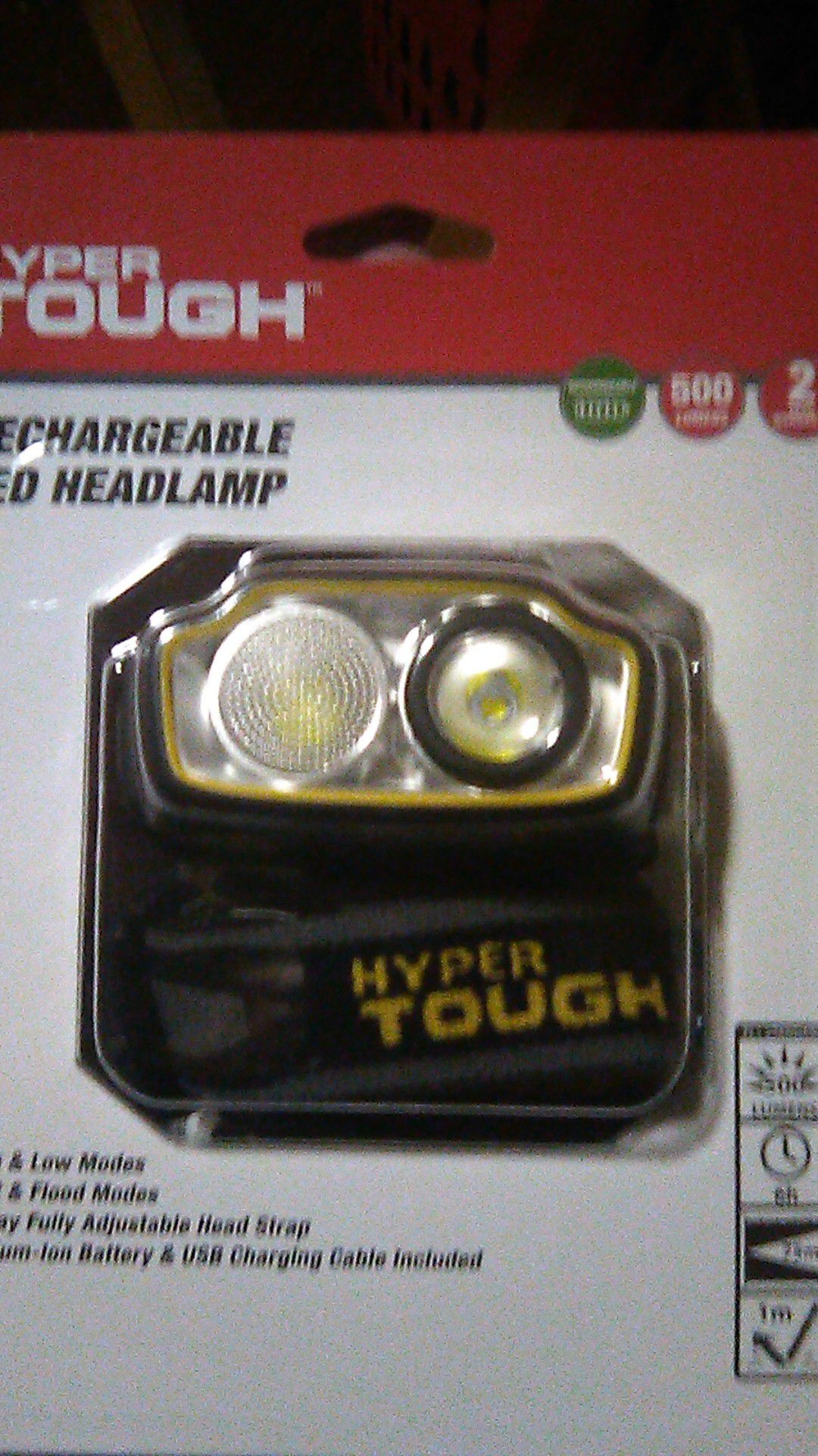 Hyper tough rechargable head lamp
