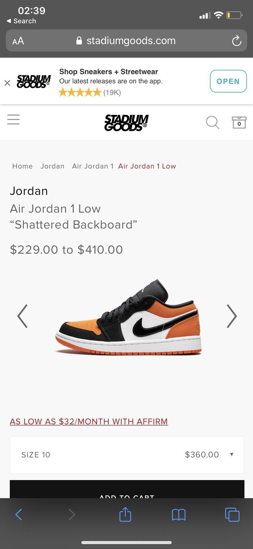 JORDAN 1 LOW SHATTERED BACKBOARD