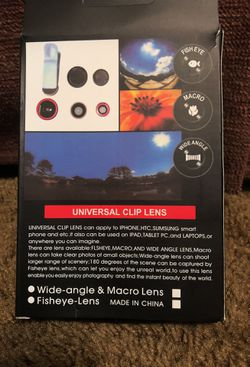 Universal clip lens can be used on I phones , htc , Samsung smart phone and etc , it also can be used on I pad tablet , and laptops ... Thumbnail