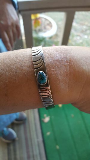 Solid sterling silver and turquoise cuff for Sale in Apex, NC