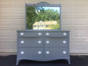 Huntley Furniture Solid Wood Long Dresser With Mirror Gray With White Handles for Sale in Manassas, VA