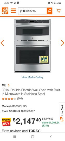 GE double electric Wall oven with built in microwave Thumbnail