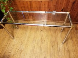 Mid Century Modern Console Table Chrome with Brass accents for Sale in Cleveland, OH