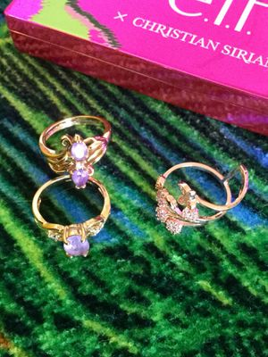 Lovely Amethyst gemstone rings 🌸💍🌸💍🌸💍 Rose gold floral ring / Each is size 5 / Love Jewelry come visit Eva's OfferUp ! for Sale in Lincolnia, VA