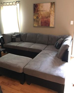 Brand new grey microfiber sectional sofa with ottoman (final price) for Sale in Silver Spring, MD