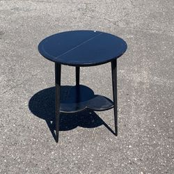 Wooden Two Tier, Sturdy Side Table w/Tapered, Reeded Legs  Thumbnail
