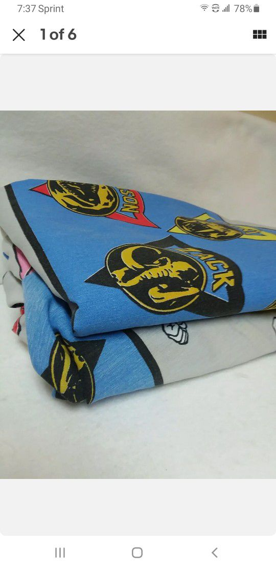Mighty Morphin Power Rangers 1994 flat twin bed sheet & 2 pillowcase TV vintage