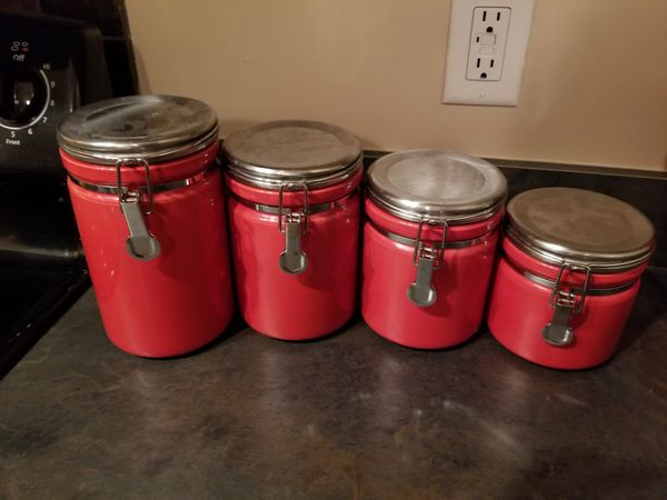 Cherry Red Kitchen canisters for Sale in Huntsville, AL ...