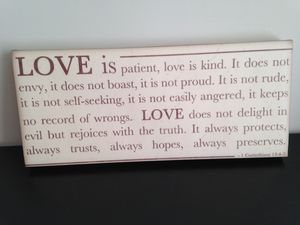 Love is patient wall art, 18 x 8 for Sale in Sterling, VA