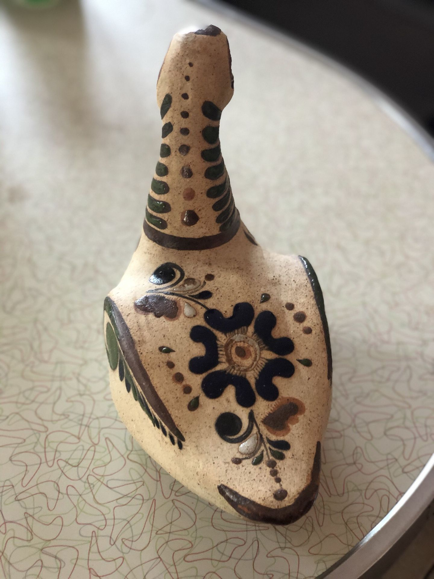 Vtg Ceramic Mexican Pottery Duck Bird Figurine Hand Painted Floral Design