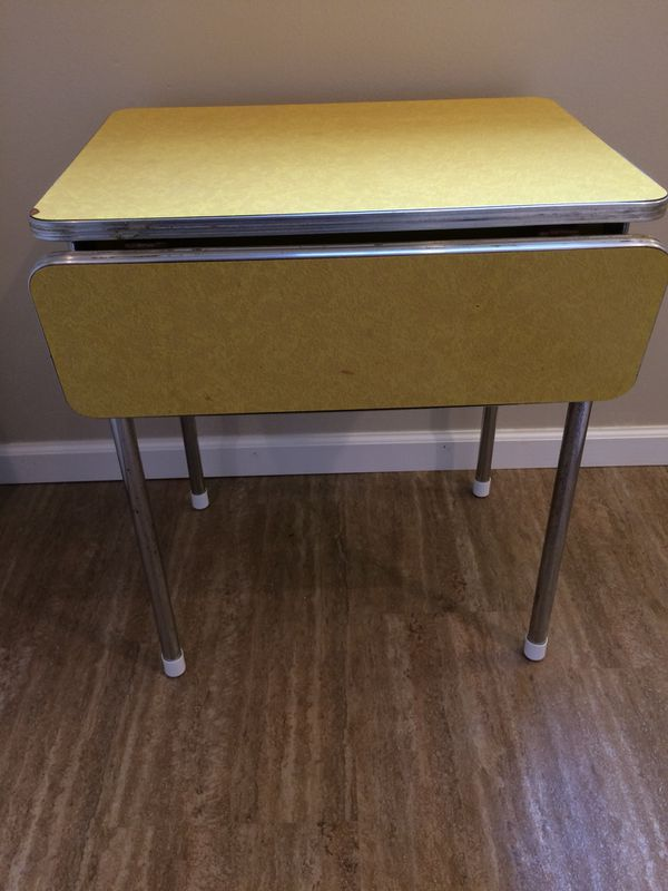 Antique Virtue Brothers Yellow Formica Top Drop Leaf Diner Style Table Chrome Legs