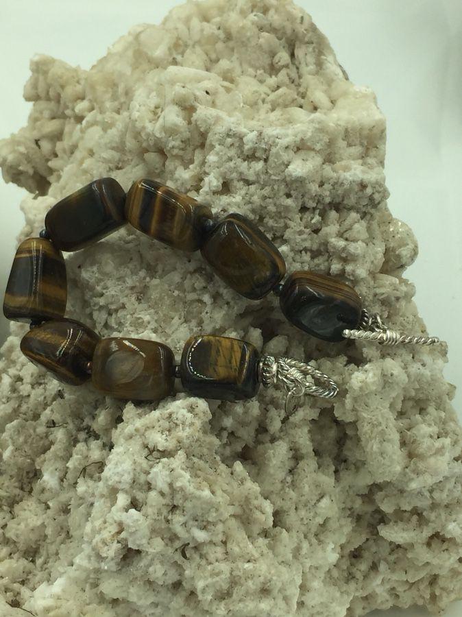 "925 STER Silver Tiger's Eye Chunky Beaded Bracelet 7.5"""