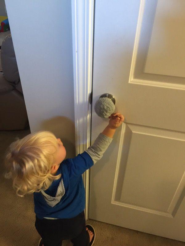 Crocheted child proof door knob covers
