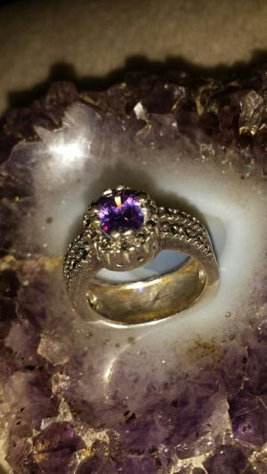925 stamped silver ring with violet crystal for Sale in Fairfax, VA