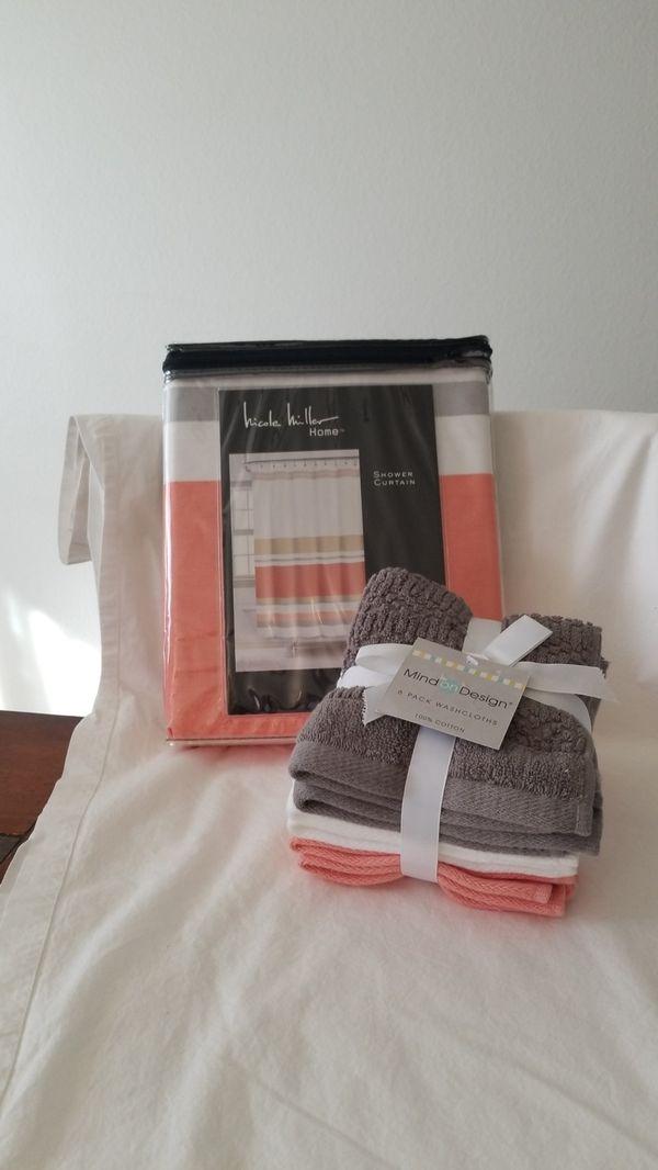 Nicole Miller Shower Curtain Washcloths Auburn