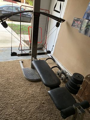 Photo Cross bow, weights, & pull up bar
