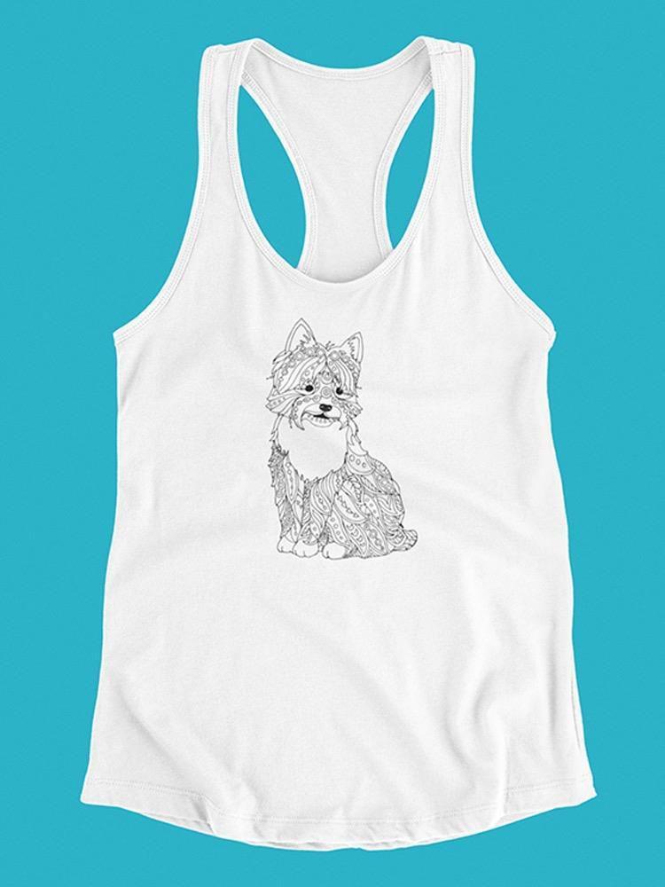 Smartprints Terrier Dog In Zentangle Tank Women's -Image by Shutterstock White Size L