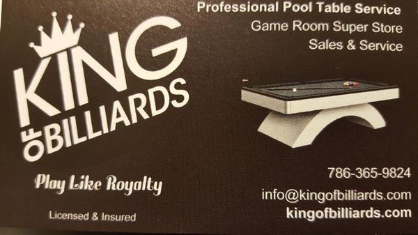 King Of Billiards Pool Table Sales Service For Sale In Hialeah FL - Pool table sales and service