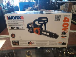 Worx 40v cordless chainsaw 12' blade for Sale in Clermont, FL