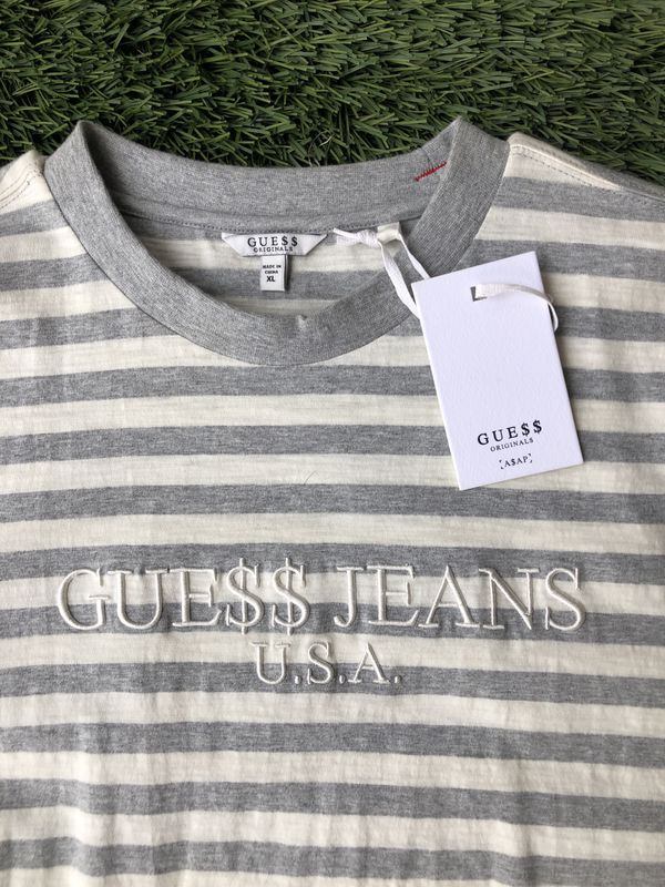 bf6ce4d249 ASAP ROCKY X GUESS JEANS STRIPED T-SHIRT SZ XL NWT VINTAGE STYLE GRAY WHITE  GUE