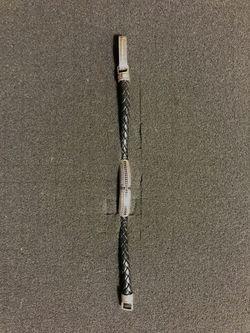 Men's Thomas Sabot Silver, Stone & Leather Cross Bracelet Thumbnail